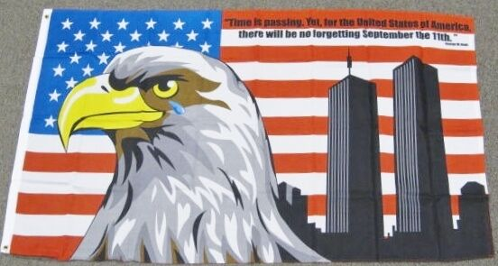 bbc3a36c845 3x5 9-11 Memorial American Flag Crying Eagle US USA Twin Towers Bush Quote  F661 for sale online