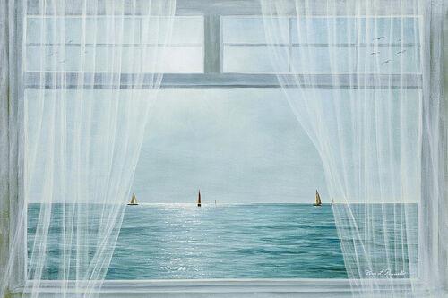 Morning View Diane Romanello Landscape Coastal Ocean Sailboat Canvas 36x24