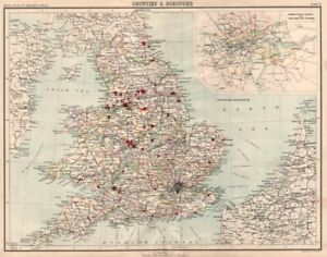 Map Of Counties England.Details About England Wales Counties Boroughs London Cc Parliamentary Divisions 1898 Map