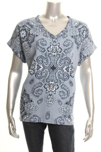 New Women/'s Style Co Printed Cuffed-Sleeve Top Tile Vision Fog XL