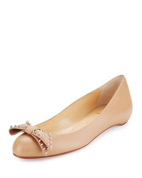 Christian Louboutin BALLALARINA Spike Studded Bow Leather Flat Leather Bow Shoes Nude $695 89b880