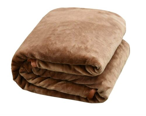 Heavy Thick One Ply Korean Style Faux Mink Oversized 9-Pound Blanket Coffee