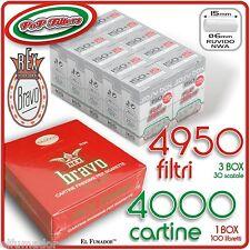 4950 Filtri POP FILTERS SLIM 6mm RUVIDI no rizla + 4000 Cartine BRAVO REX CORTE