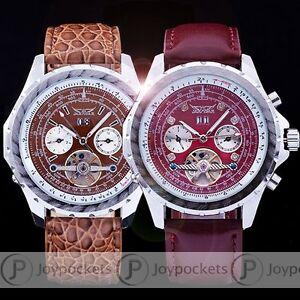 Men-039-s-Tourbillon-Automatic-Mechanical-Sub-dials-Date-Leather-Sport-Wrist-Watch