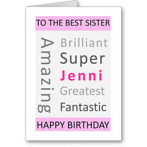 Unique Typographic Personalised Sister Birthday Card Gift Next