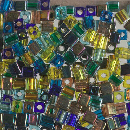 INCLUDES SOME SB3S SBmix19 100 4X4 SQUARE BEAD MIX GALACTIC BLUE GOLD