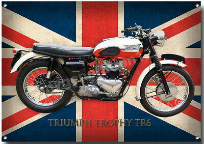 TRIUMPH TROPHY TR6 MOTORCYCLE METAL SIGN.