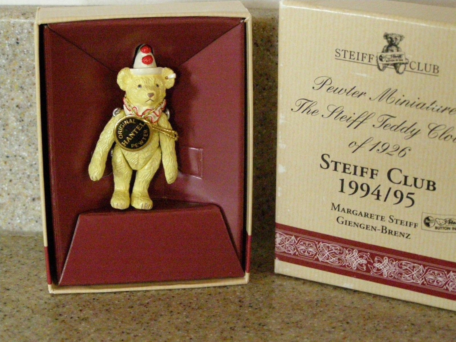 STEIFF Pewter Miniature Teddy Clown of 1926 Steiff Club 1994/95 NEW with Box