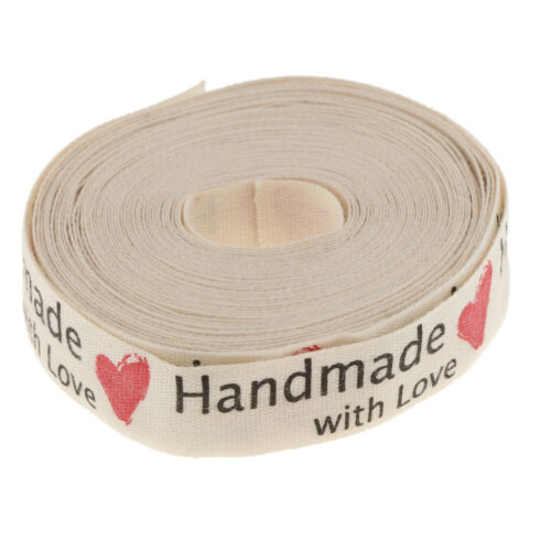 5 Yards Hand Made w// Love Cotton Ribbon Gift Present Wrap Sewing Craft 15mm