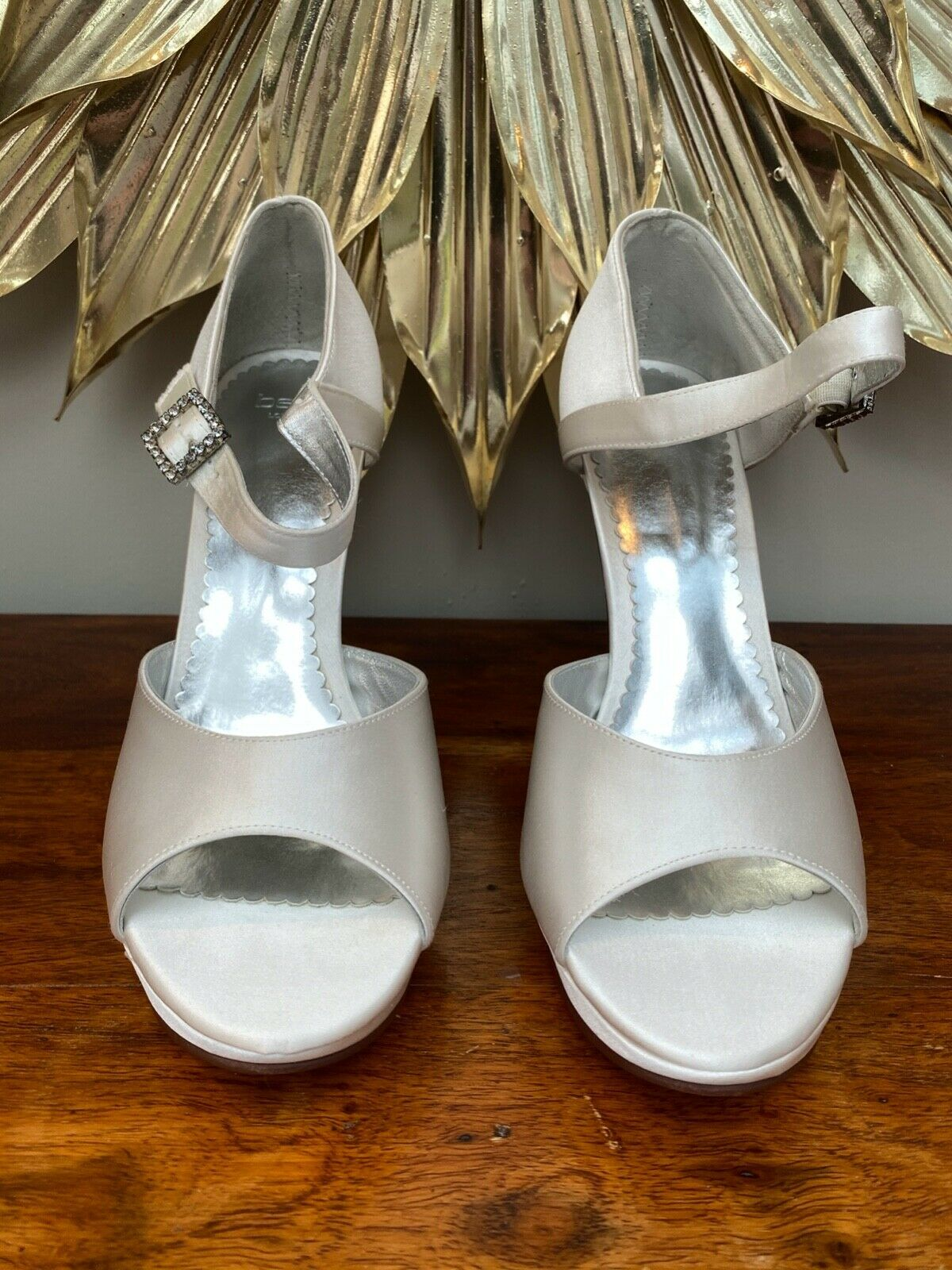 Belle 'Montana' Ivory Silk wedding shoes, UK7/40