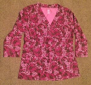 Duo Maternity & Nursing 3/4 Sleeve Blouse Top Shirt size Medium Med M pink print