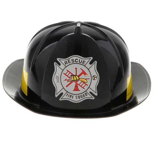 Dress Up Toy Fireman Role Play Tools Plastic Safety Hat Helmet for Kid Black