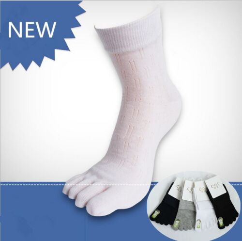 6 Pairs Mens Combed Cotton Five Finger Toe Socks Dress Casual Breathe Solid Soft