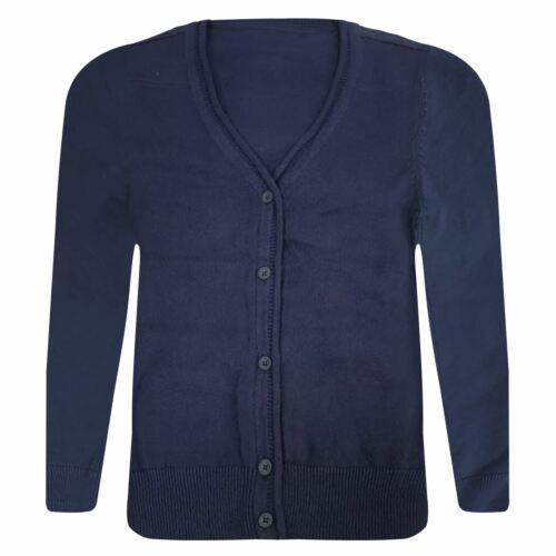 New Boys Adult Uniform Plain Cardigan Cotton Button V Neck Jumper 3-18 Years