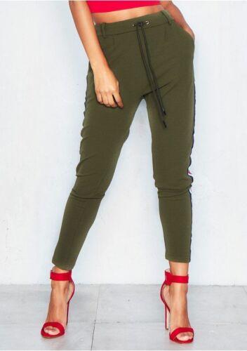 Vita Alta Pantaloni Sportivi Pantaloni Sigaretta Pantaloni con finiture di marca lato spogliato