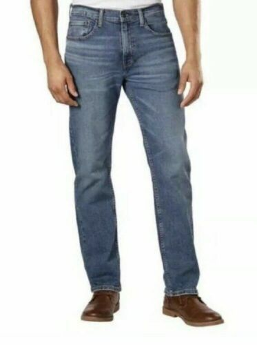 NEW Men/'s Lucky Brand 221 Straight Fit Distressed Jeans Medium Wash Big Bend