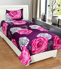 Homefab India 3D Printed PolyCotton Single Bed-Sheet (Single189)