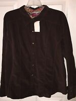 Duo Maternity Brown Dress Shirt Sz Xl X Large Chocolate Corduroy Shirt