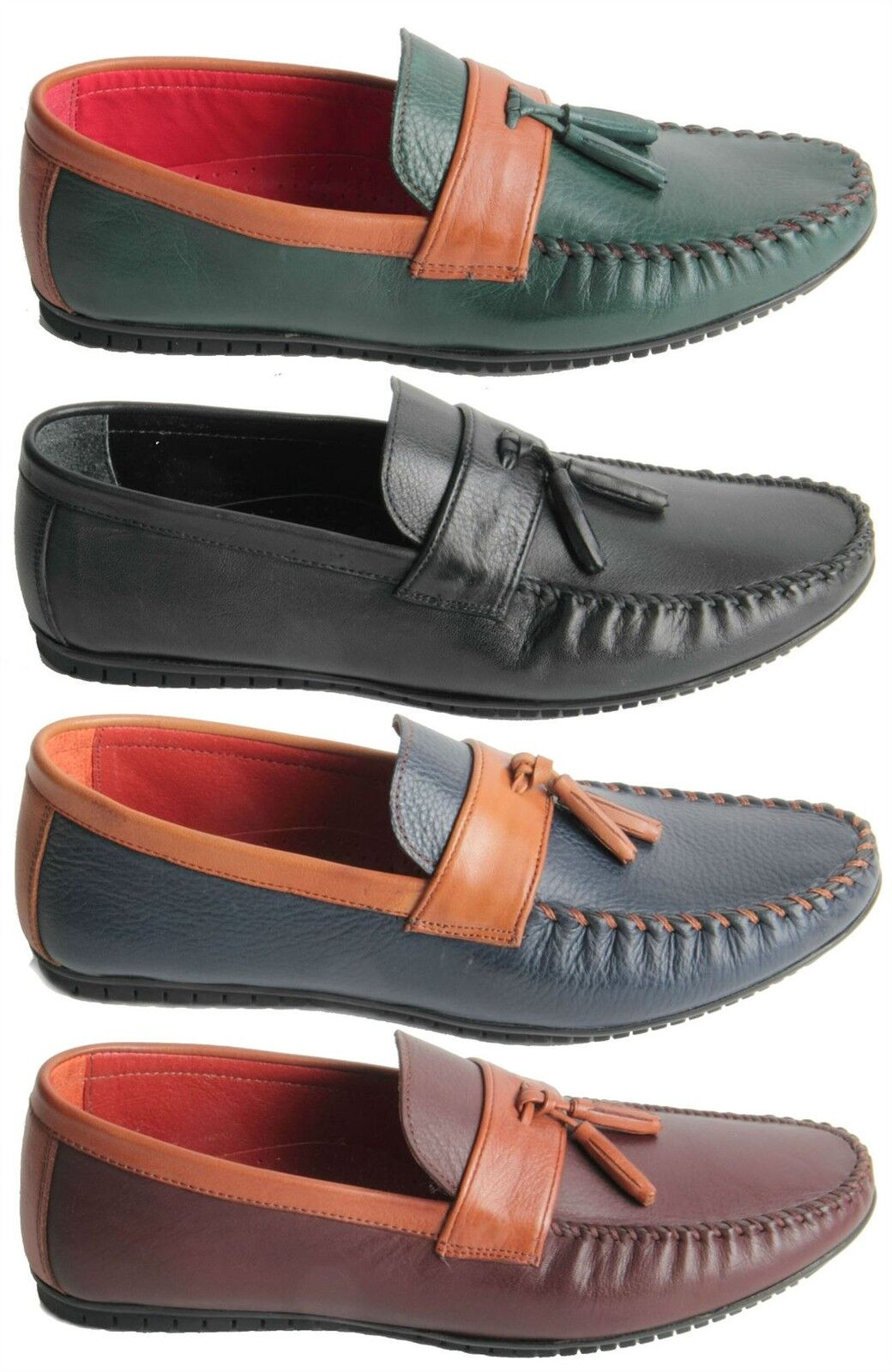 Mens Genuine Leather Slip On Loafers Heavy Stitched Tassel Toe Shoes