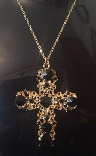 Declaración pendientes de Oro Cruz Crucifijo de tamaño grande sobre y collar conjunto