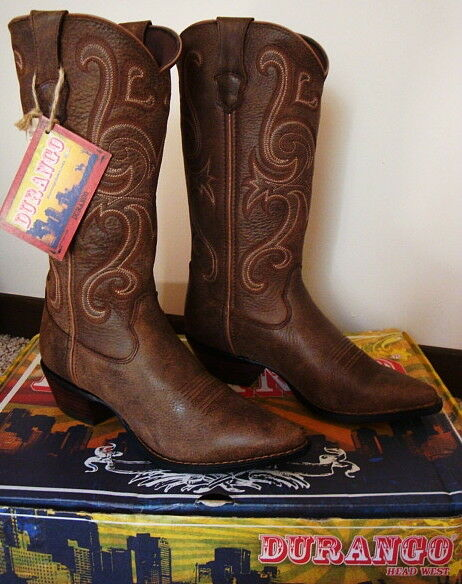 Durango Women's Boots Jealousy Crush Western Cowboy Brown Leather New 7.5 165
