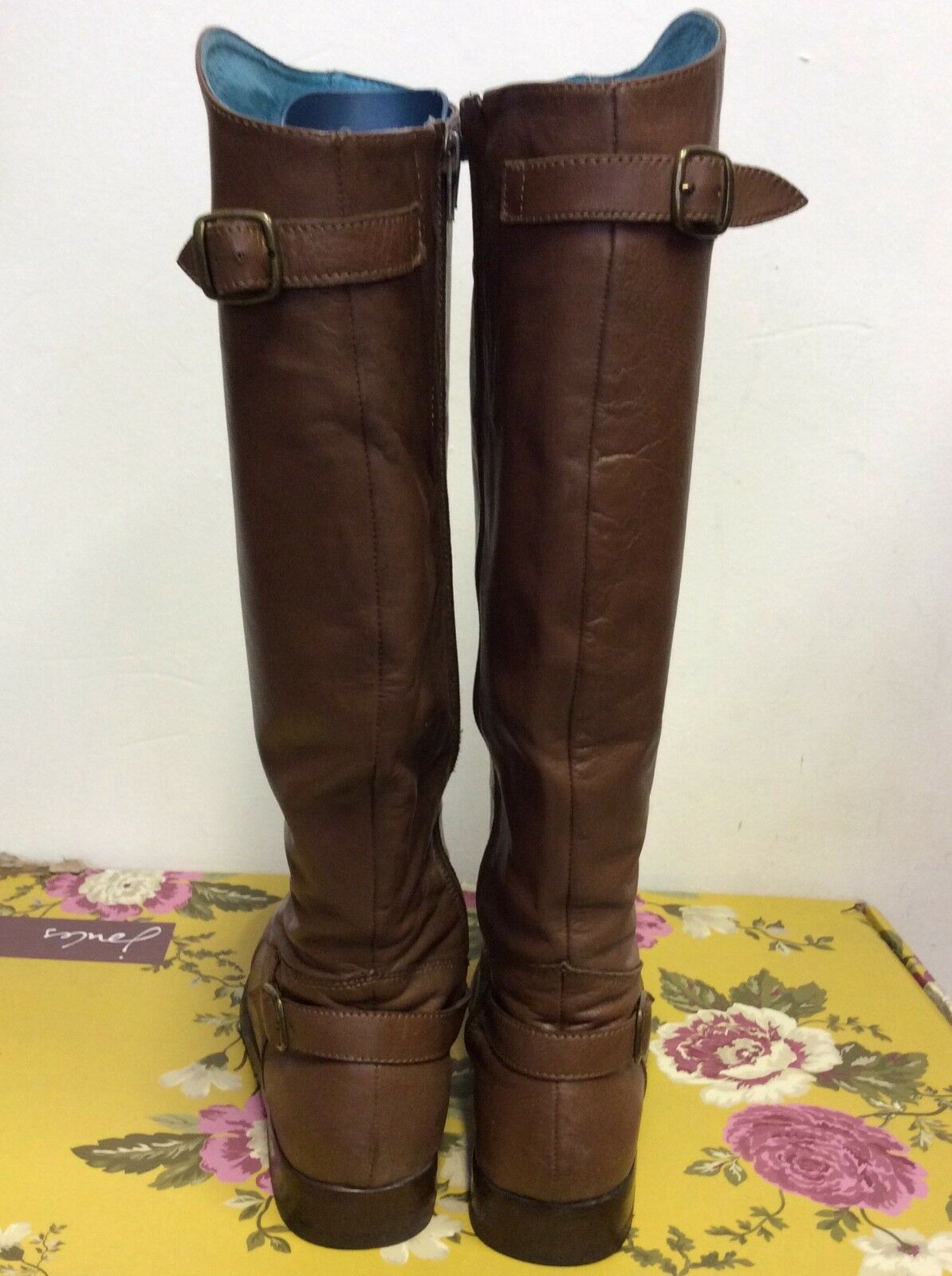 JOULES MERSTONE BROWN LEATHER BUCLE SIZE TRIM KNEE LENGTH Stiefel SIZE BUCLE 6/39 COST eec364