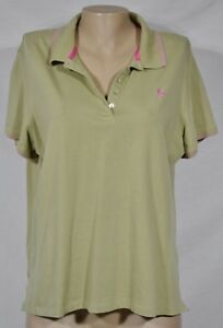 JAMAICA-BAY-Green-Polo-Shirt-Top-1X-Short-Sleeves-Pink-Trim-Stretch-Cotton