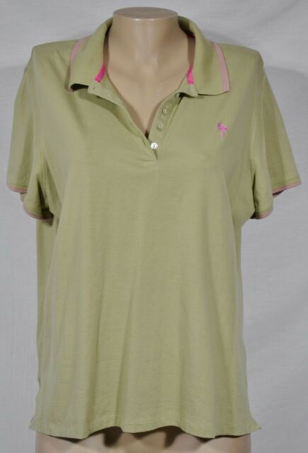 JAMAICA BAY Green Polo Shirt Top 1X Short Sleeves Pink Trim Stretch Cotton