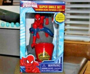 Marvel-Kids-Spider-Man-Super-Smile-Oral-Care-Toothbrush-Set-Holder-Cup-New
