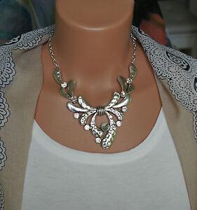 Modeschmuck kette silber  Bettelkette Statement Halskette Modeschmuck Kette Silber Kristall ...