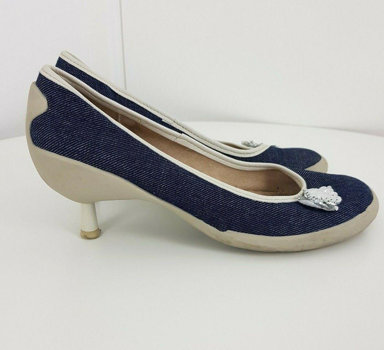 Para Raio schuhe Slip On Round Toe Heels Jeans Style Blau Größe UK 5 EU 38 VGC