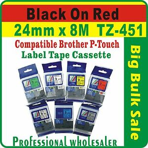 24mm x 8m BrotherBlack on Red Compatible TZ-451 P-Touch Laminated Label Tape