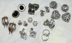 Vintage-Earring-Lot-Clip-Monet-Trifari-Coro-Rhinestones-Silver-Tone-Enamel