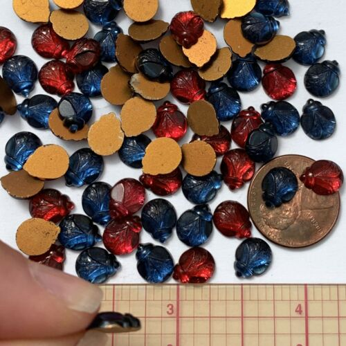 8 Vintage Ladybug Cabochons Glass Ruby Red Sapphire Blue 9x7 Foiled Pressed Cabs