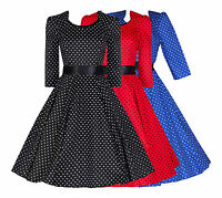 WOMENS 40'S 50'S VINTAGE POLKA DOT 3/4 SLEEVE ROCKABILLY SWING DRESS NEW