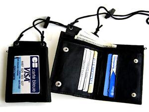 BLACK-GENUINE-LEATHER-WALLET-ID-Badge-Window-Pocket-Card-Holder-Zip-Neck-Strap