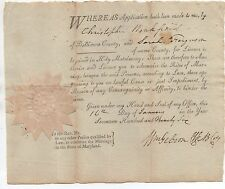 Rare 1795 Marriage License for Sarah Ferguson Baltimore County Maryland