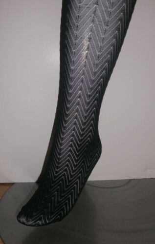 HUE Outline Herringbone Tights with Control Top Black Size S//M #241RR