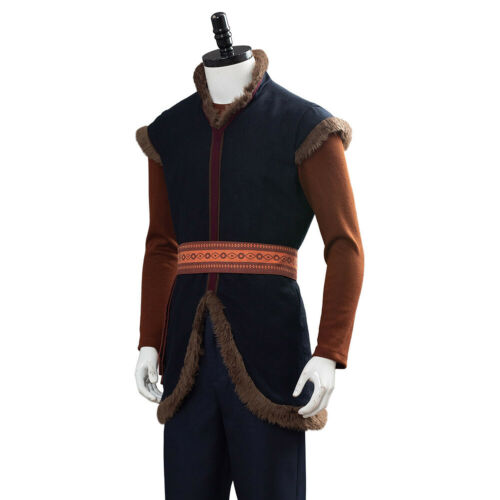 Cosplay Prince Kristoff Bjorgman Costume Halloween Adult Suit Brown Male Outfit