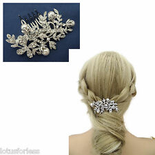 Beautiful Bridal Hair Comb Slide with Diamante and Pearls in a Leaf Design Small
