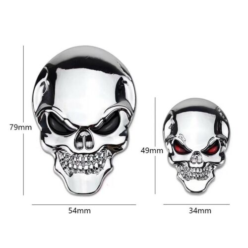 Chrome Bone Metal Skull Emblem Fender Decal Sticker Car Rear Trunk Hood Badge