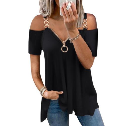 Women Zipper V Neck T Shirt Ladies Casual Loose Cold Shoulder Tops Blouse Shirts