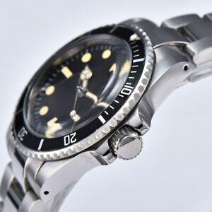 Men-039-s-Watch-Automatic-Vintage-Submariner-1960-Plexiglass-Dome-40mm-Alumium-Bezel
