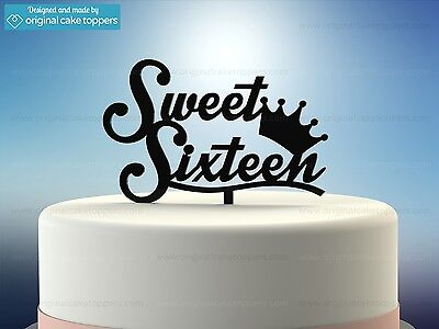 Wondrous Sweet Sixteen Black 16Th Birthday Cake Topper Made By Funny Birthday Cards Online Fluifree Goldxyz