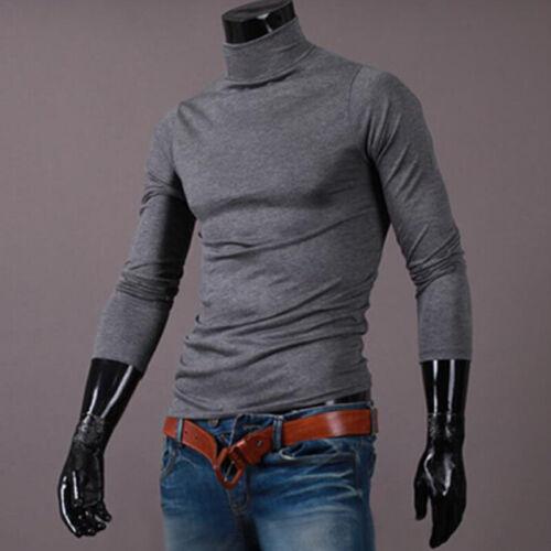 Mens Slim Fit Sweater Warm Cotton Blend High Neck Pullover Shirt Tops Turtleneck
