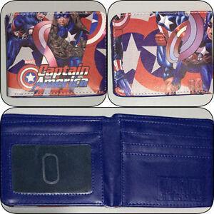 Captain-America-Blue-Bi-fold-Wallet-Boys-Girls-Mens-DC-Superhero-Cosplay