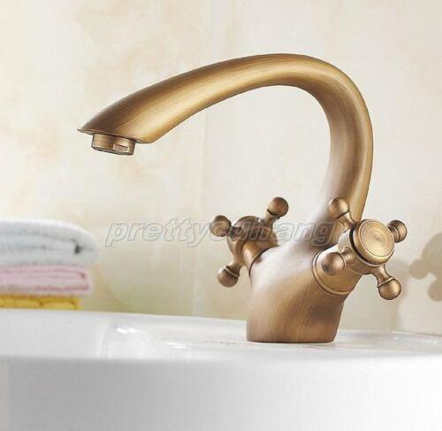 Antique Brass Double Cross Handle Bathroom Basin Faucet Vessel Sink Tap Pnf109