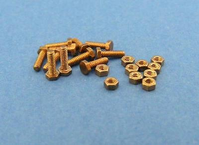 10 brass nuts and screws size M1.0 - various length