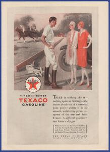 Vintage 1928 TEXACO Gasoline Gas Station Garage Star Horse Polo 20's Print Ad