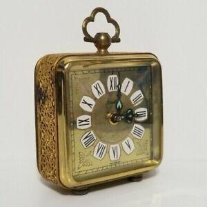 Vintage-Bradley-Wind-Up-Alarm-Clock-Germany-Brass-Gold-Filigree-Case